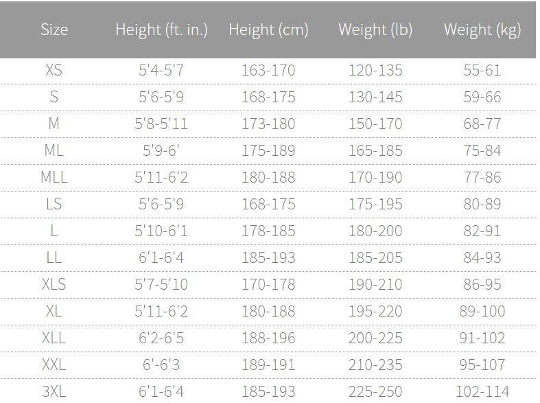 Mens Aquaflex Size Chart