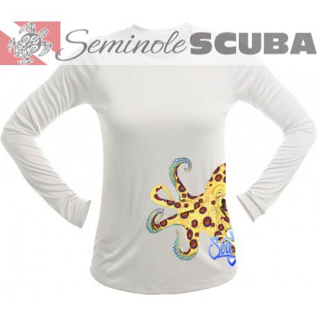 SeaFear Blue Ring Octopus L/S Women's Performance Tee