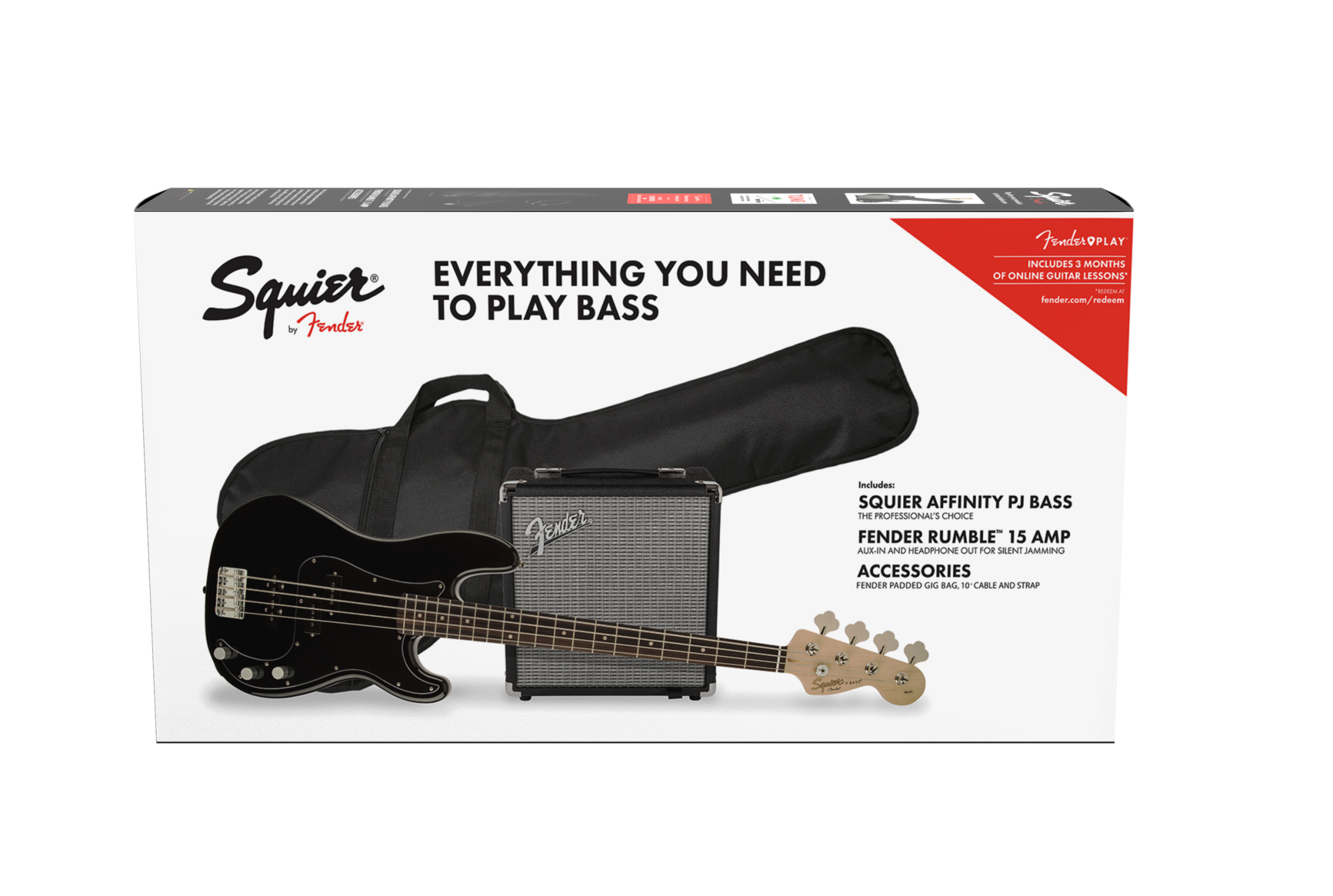 Squier Affinity Series Precision Bass PJ Pack, Laurel FB, Gig Bag, Rumble 15 Amp
