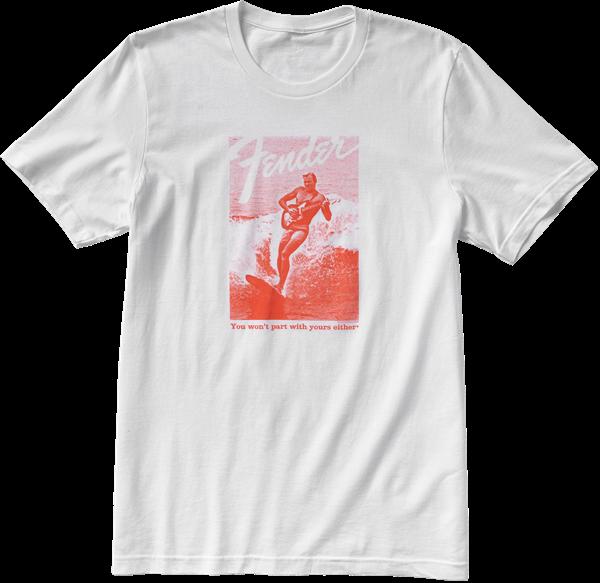Fender Jaguar Surf T-Shirt, White and Red