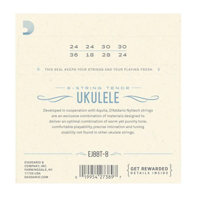 D'Addario EJ88T-8 Nyltech Ukulele Strings, 8-String Tenor