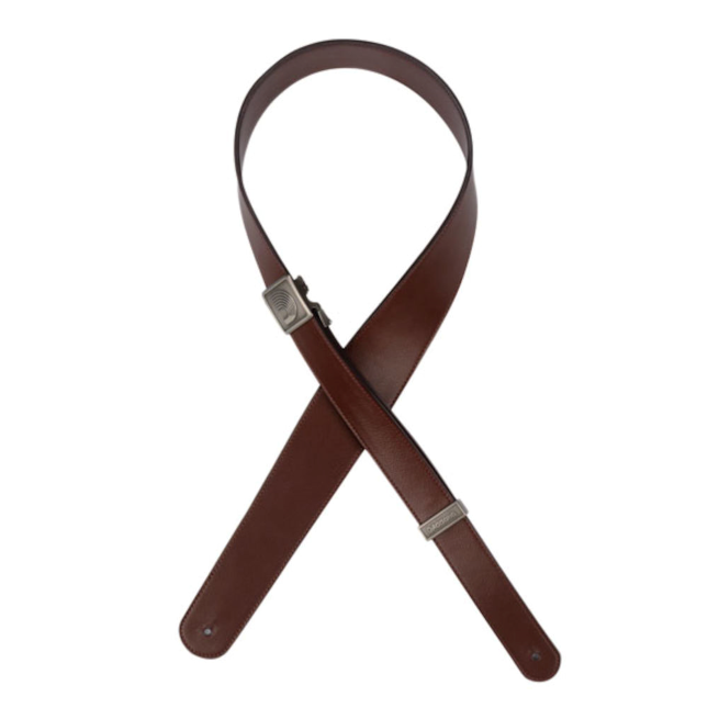 D'Addario Fast Track Leather Guitar Strap - Brown