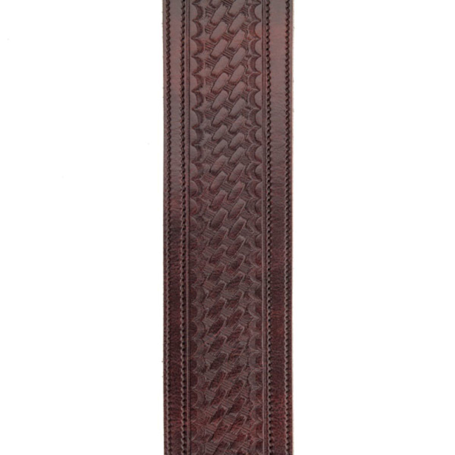D'Addario Deluxe Leather 2.5 Guitar Strap, Embossed Weave, Brown