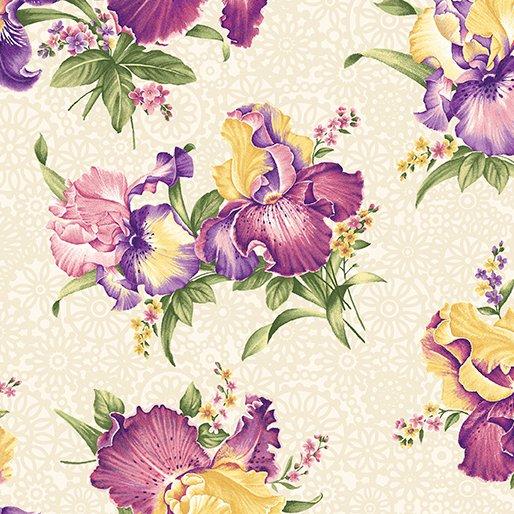 01072 07 Iris Bouquets Cream/Multi Benartex