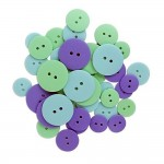 Buttons 38pc Soft Color Mix Aqua, Purple, Green