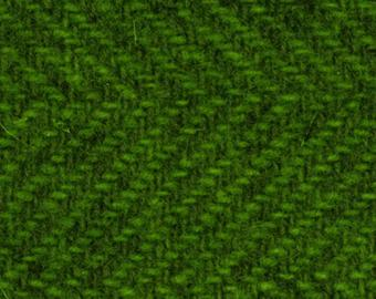 Green Herringbone FQ 18x28 Textured 100% Wool