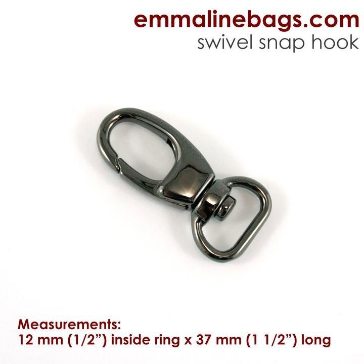 2Hook12 Gunmetal/2 Swivel Snap Hool 1/2 (12mm)