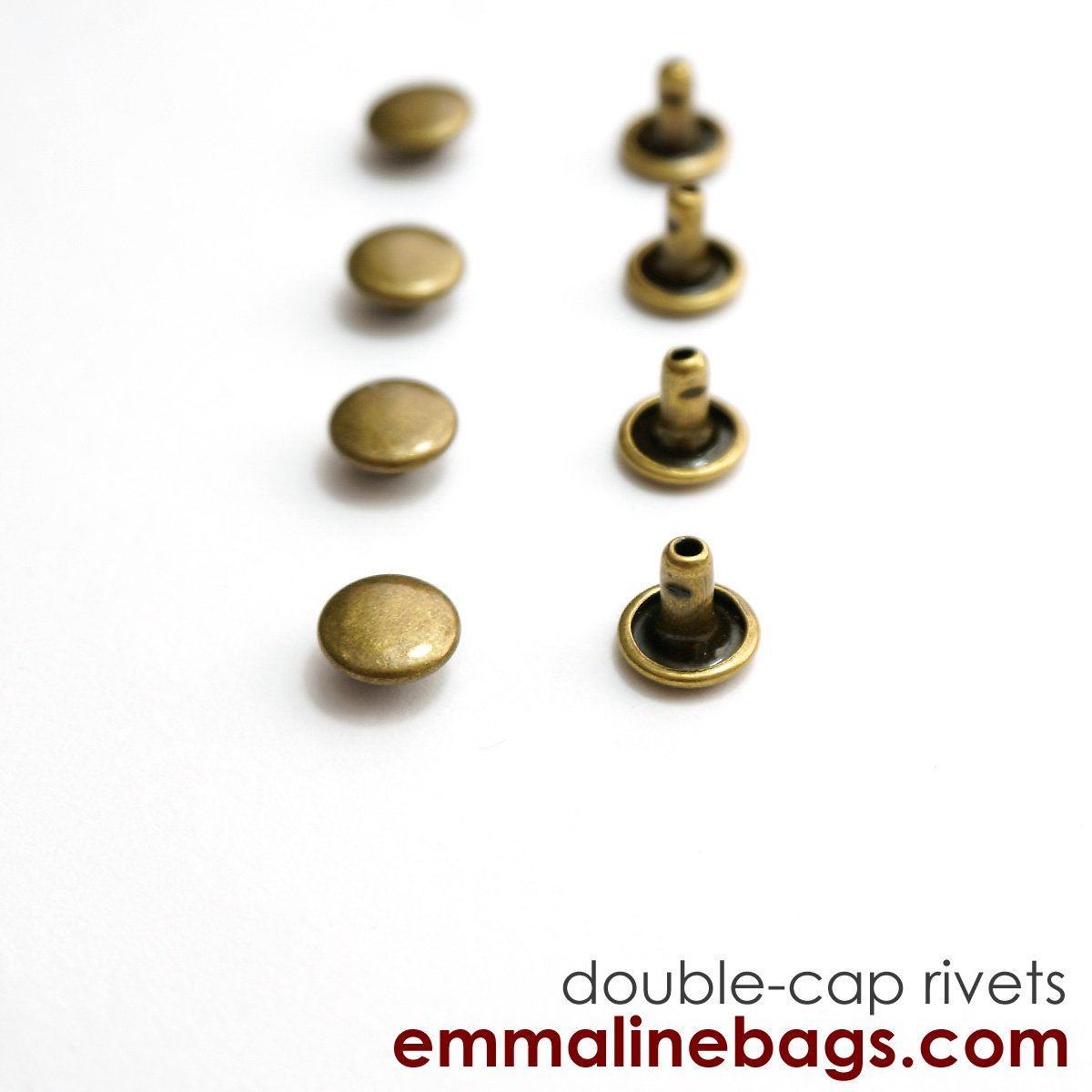 AB Double Cap Rivets Small 50 Pack (8mm Cap x 6mm Post) Antique Brass