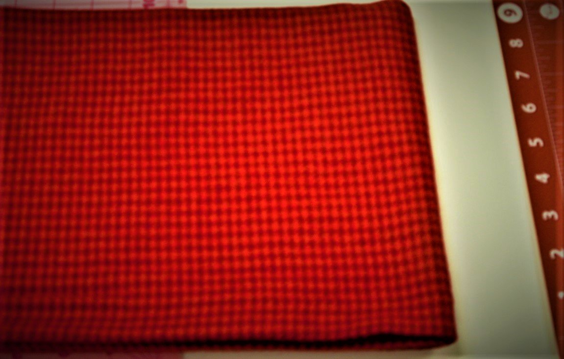 Red Check 9x9 Textured 100% Wool  Bright - copy