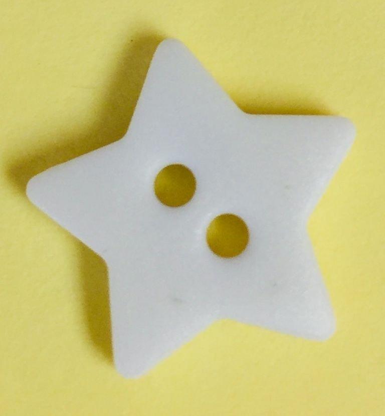 Button - Star - WHITE - 13 pk