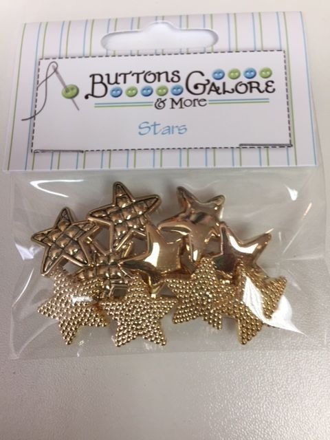 Buttons Galore Stars - GOLD - 10pc