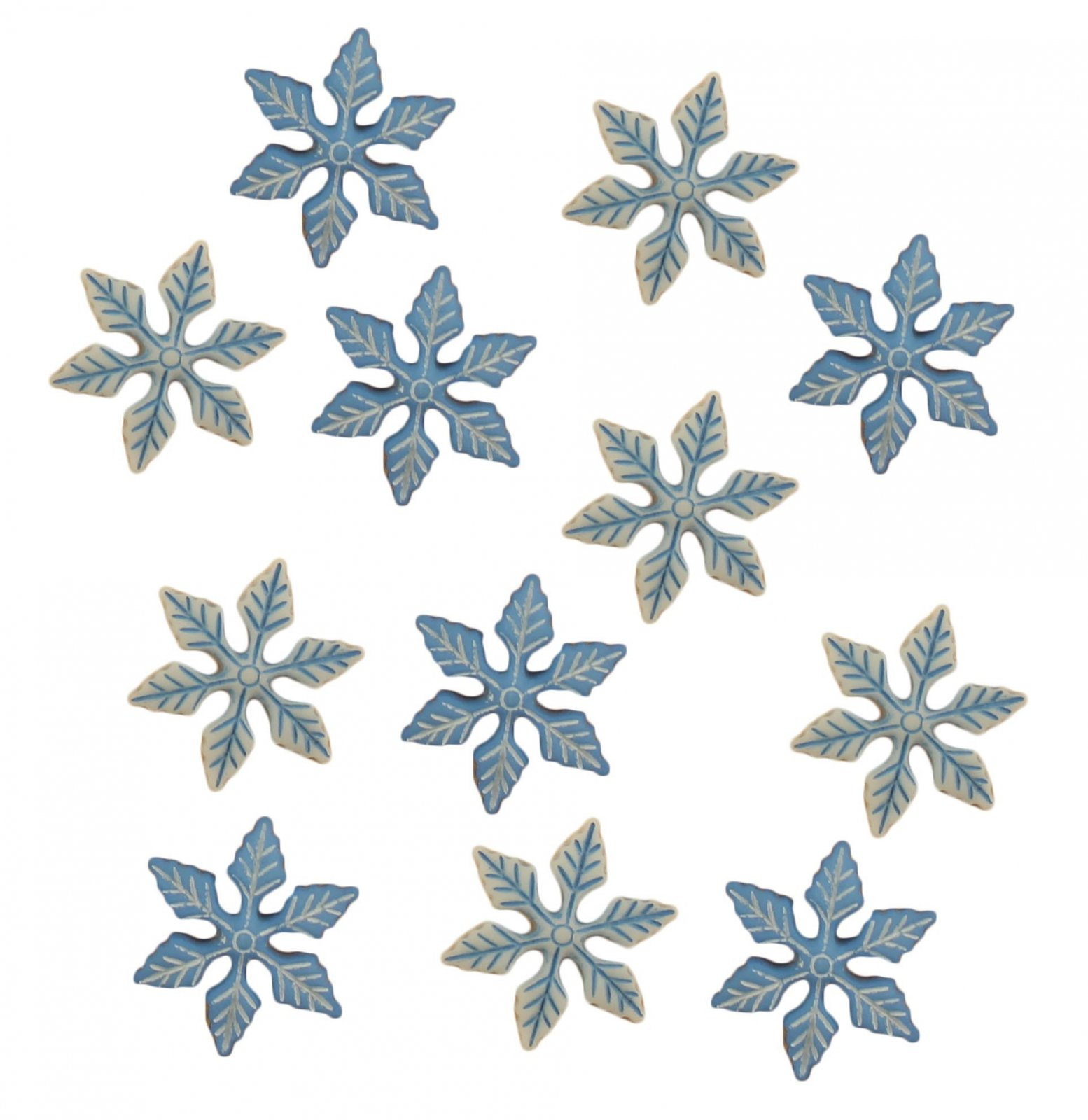 Buttons Galore  - WINTER CHILL Snowflakes - 12 pcs