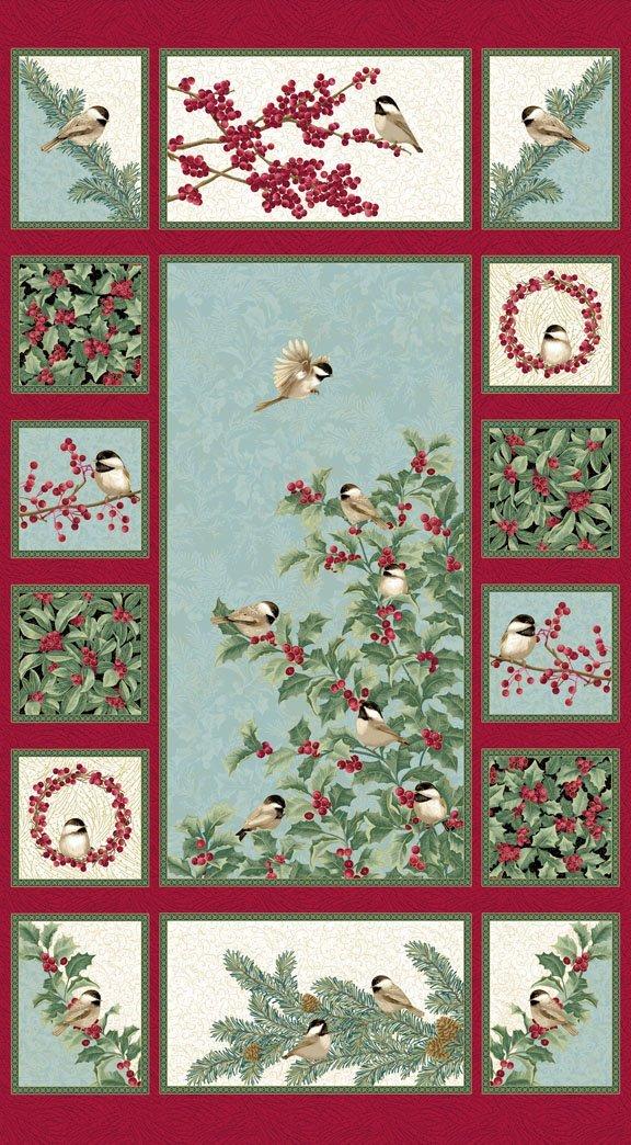 Chickadees & Berries Panel from Benartex - ONE LEFT