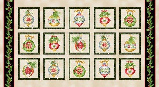 Christmas Elegance Blocks Panel - 9934-49