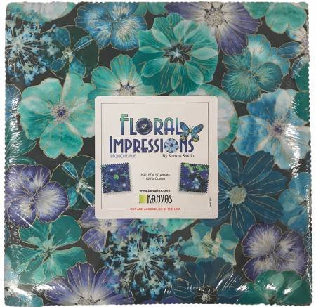 Layer Cake - Floral Impressions - Turquoise/Blue