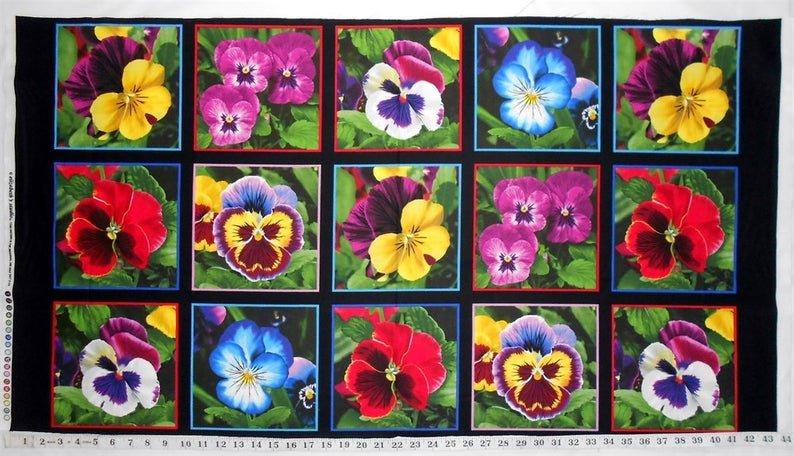 Lovely Pansies Panel by Elizabeth's Studio
