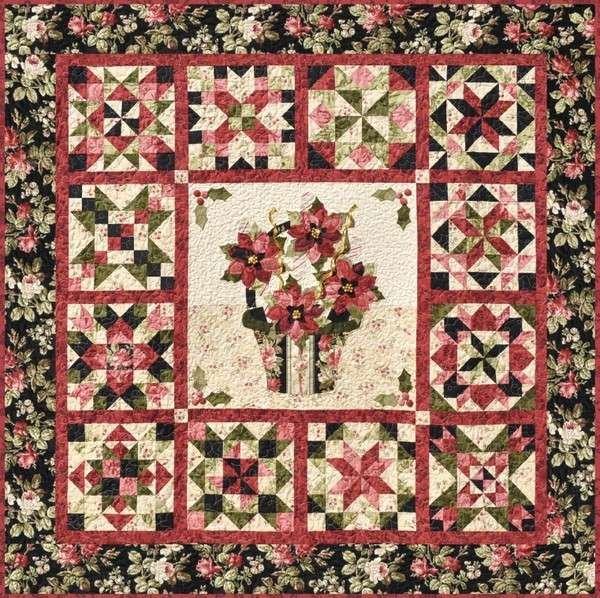 Poinsettia de Noel Quilt Kit -    35% Discount While Supplies Last