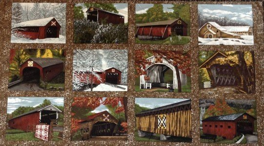 Quilt Barns & Bridges Panel from Riverwoods