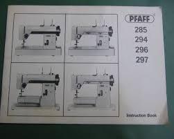 Pfaff manual for 285 294-297
