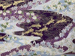 Asian Flower Print - Fish & Dragonflies