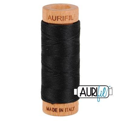 Aurifil Mako 80wt Solid 306yds - BLACK 2692