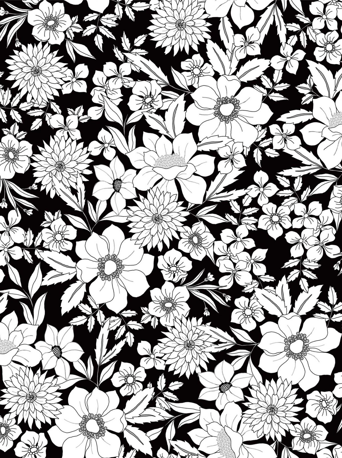 Black Tie Large Floral with Silver Metallic