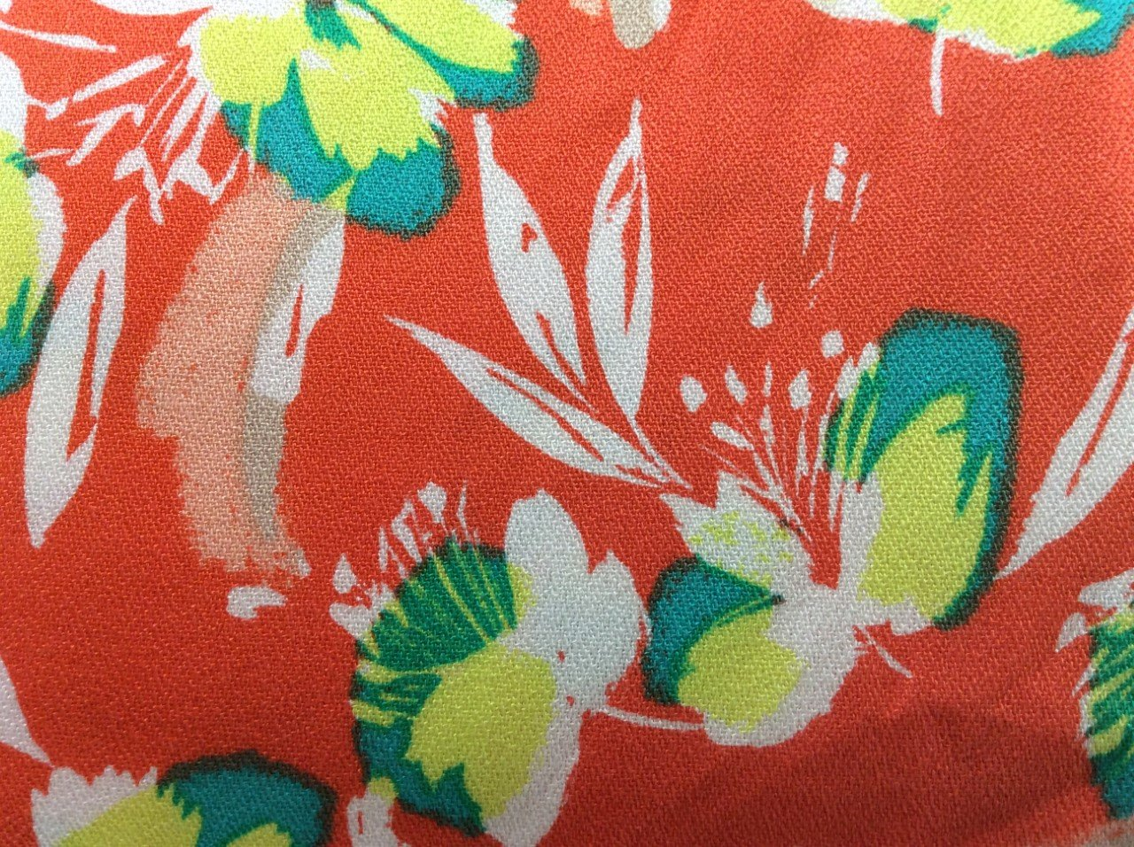 Bright Coral Rayon Crepe with White Yellow and Teal Flowers