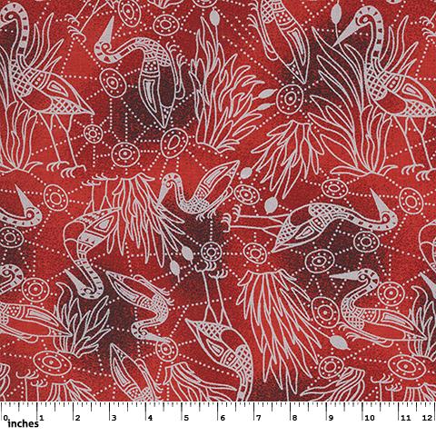 Aboriginal Brolga Dreaming Red