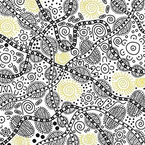 Aboriginal Bush Tucker White Fabric