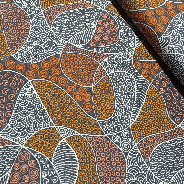 Aboriginal Bush Coconut Dreaming Brown Fabric