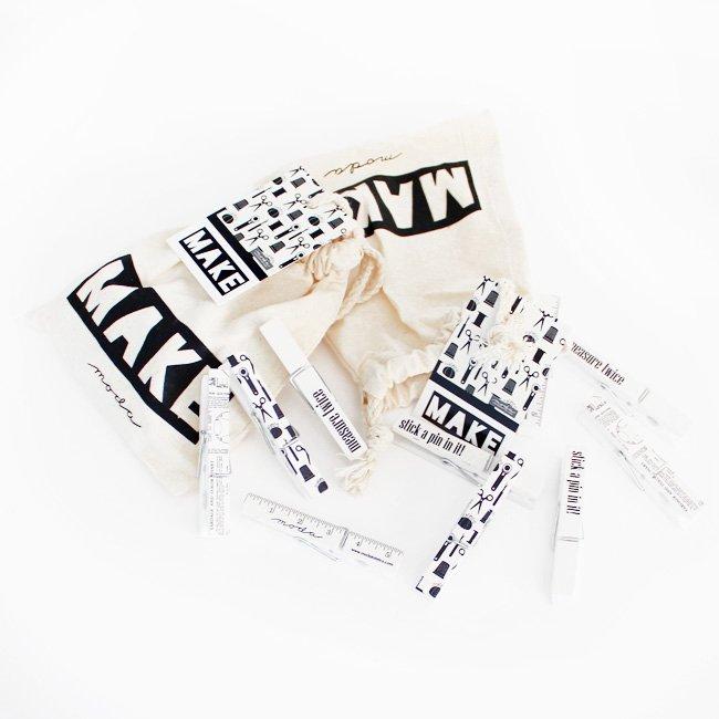 Clothes Pins in MAKE bag, Moda 10pc