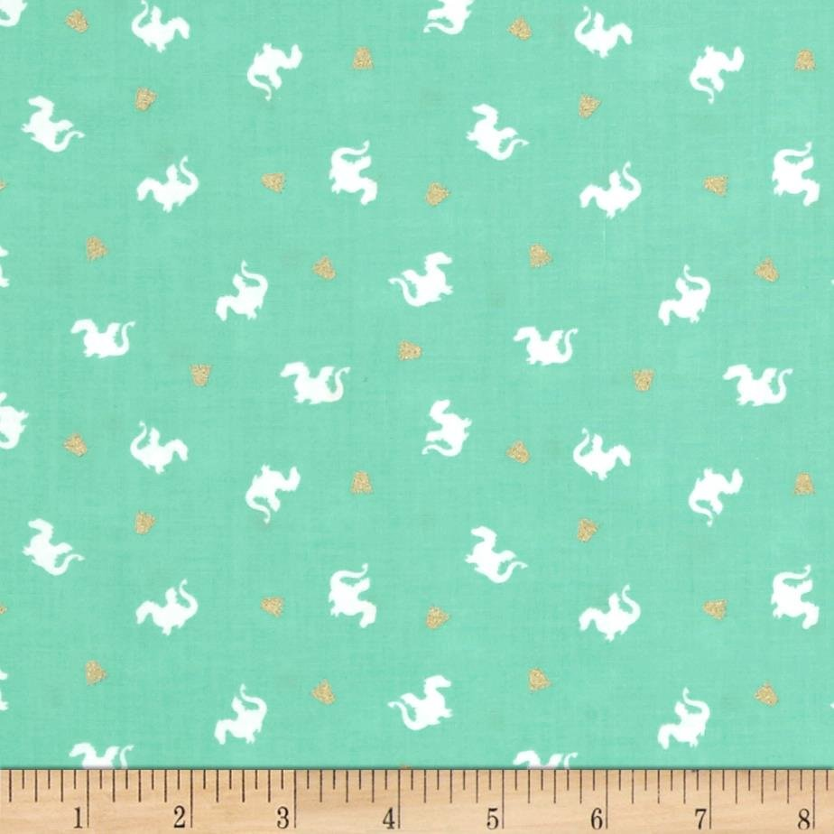 Michael Miller Turquoise Dragons fabric