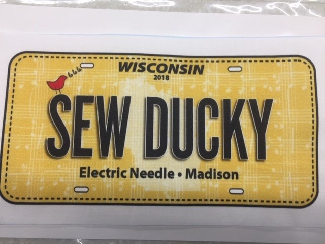 Sew Ducky License Plate 2018