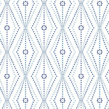 Blue Brilliance - Linear Daisy and Dots on White