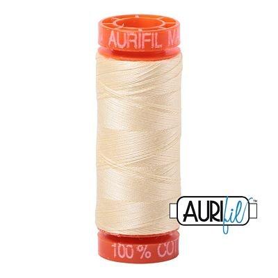 Aurifil Mako 50wt Solid 219yds - LIGHT LEMON 2110