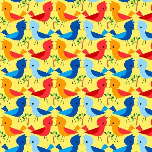 Comfy Flannel Print Bright Birds