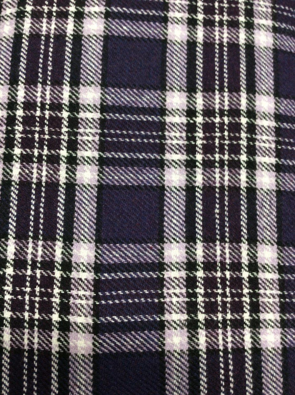 Purple Black and White Plaid Wool Coating