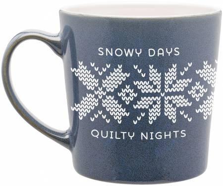 Coffee  Mug - Snowy Days Quilty Night - Blue