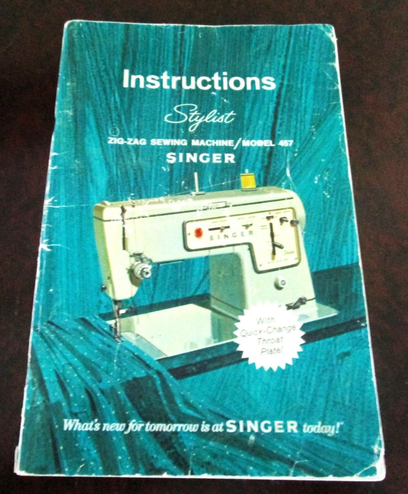 Singer model 457 manual sewing machine use care attachments 62pg.
