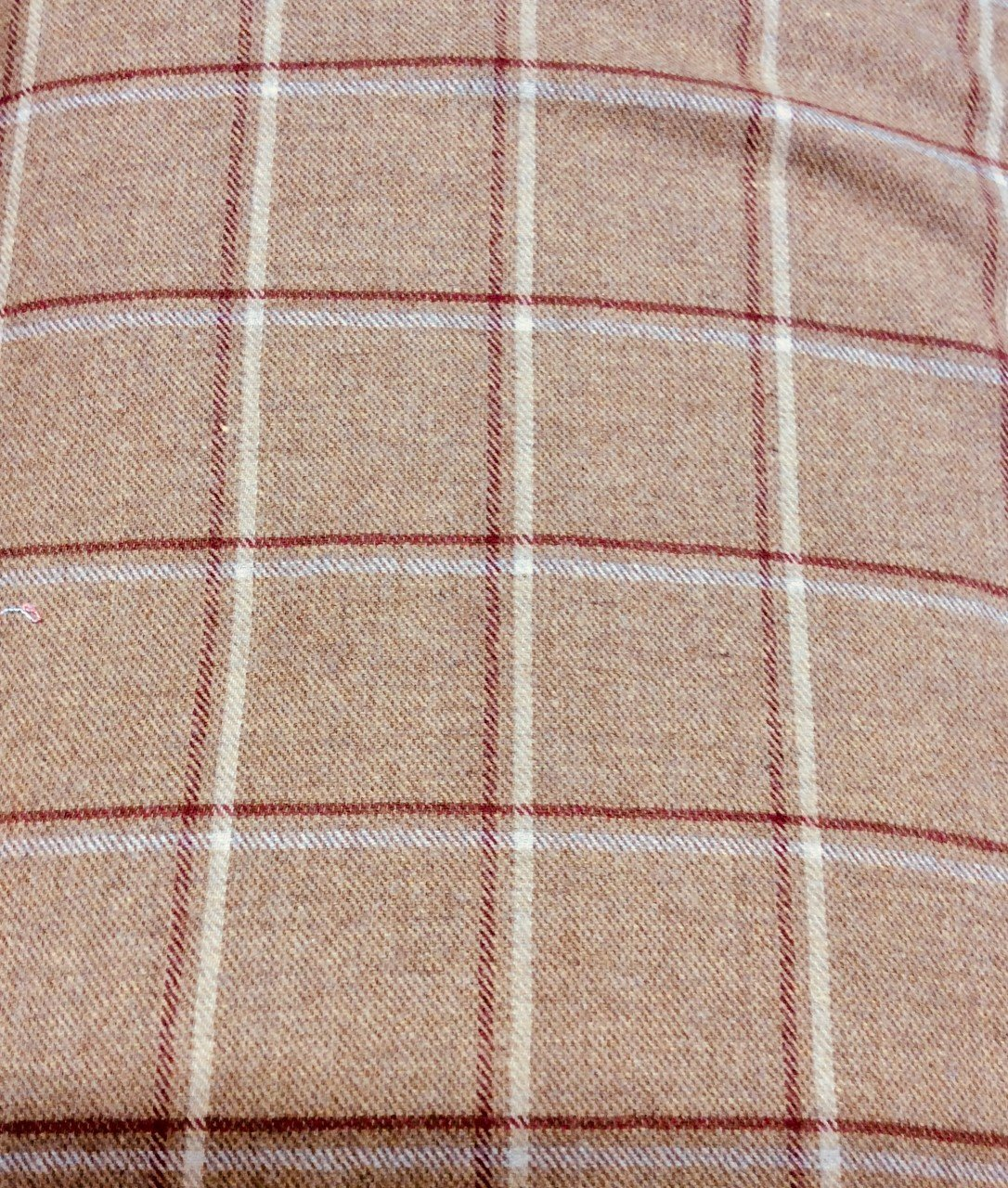 Tan Cream and Red Plaid Wool