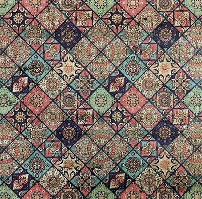 Natural Cork Fabric - Valencia Print 27wide x 1yd roll