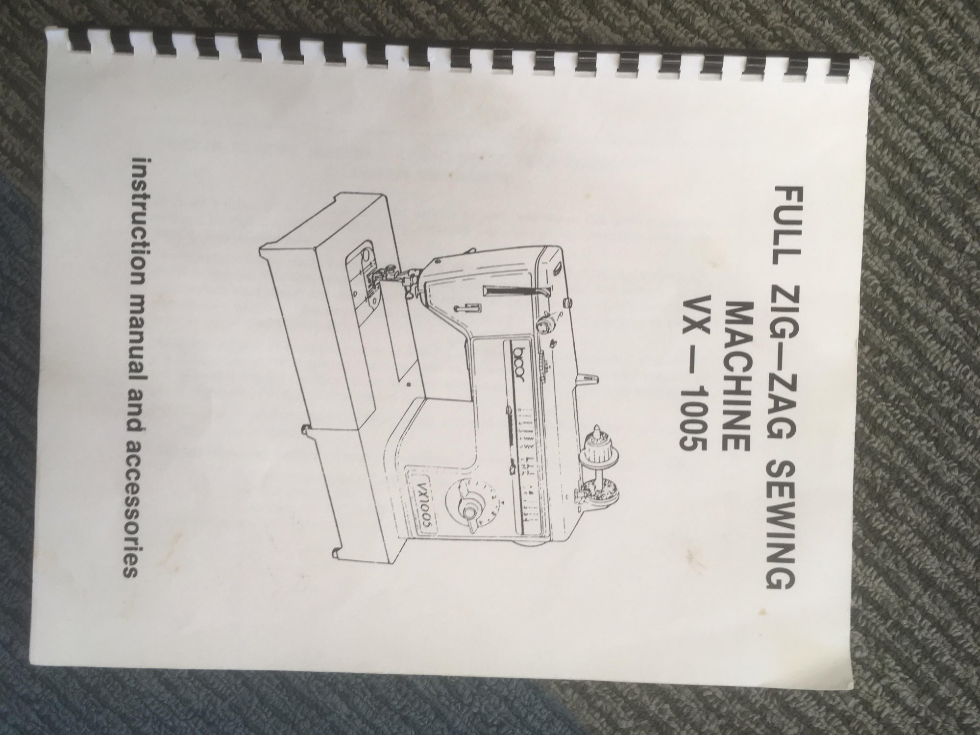 Brother Model VX 1005 Bicor Instruction Manual - USED