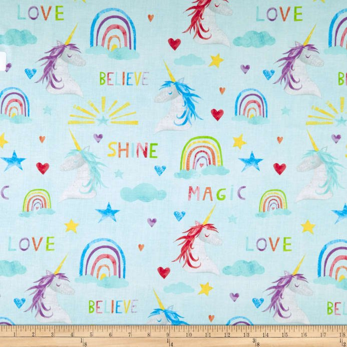 *SPARKLE MAGIC SHINE//UNICORN-RAINBOW//TEAL//WILMINGTON PRINTS