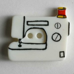 *SEWING MACHINE PLASTIC TWO-HOLE NOVELTY BUTTON//WHITE//1 - 25MM//WASHABLE - DRY CLEANABLE//DILL BUTTONS