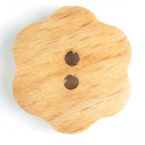 *WOOD FLOWER TWO-HOLE BUTTON//BROWN//3/4 - 20MM//HAND WASHABLE//DILL BUTTONS