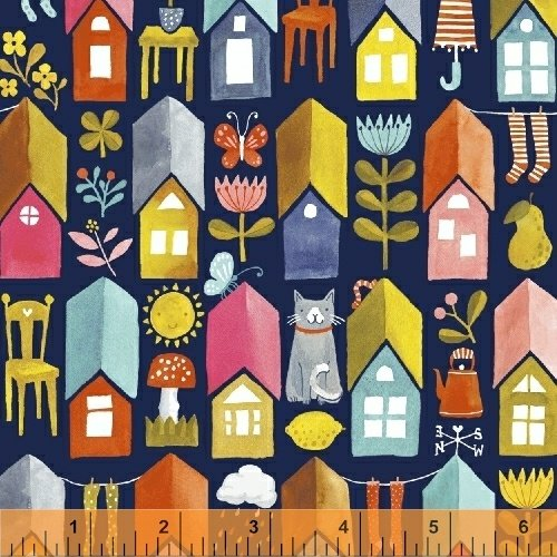 *PAINT THE TOWN//PLAY HOUSES//NAVY//STRIPED PEAR STUDIO//WINDHAM FABRICS