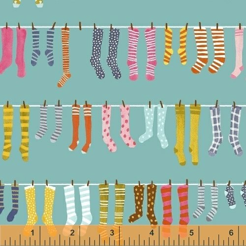 *PAINT THE TOWN//HANGING SOCKS//TEAL//STRIPED PEAR STUDIO//WINDHAM FABRICS