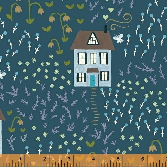 *BUNGALOW//LITTLE HOUSE//TEAL//AMY GIBSON//WINDHAM FABRICS