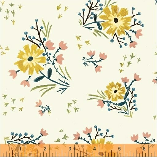 *BUNGALOW//LARGE FLORAL//WHITE//AMY GIBSON//WINDHAM FABRICS