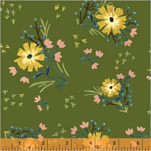 *BUNGALOW//LARGE FLORAL//AVOCADO//AMY GIBSON//WINDHAM FABRICS